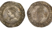 Ireland, Mary, 1553 Silver Shilling (M D LIII) in Roman numerals on the reverse. Crowned bust left, legend with inner and outer beaded circles surrounding, mint mark lis after Queen's name, double annulet stops. The Old Currency Exchange, Dublin, Ireland.