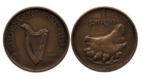Morbiducci's Irish pattern (proof) penny in Copper