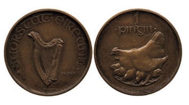 Morbiducci's Irish pattern (proof) penny in Copper