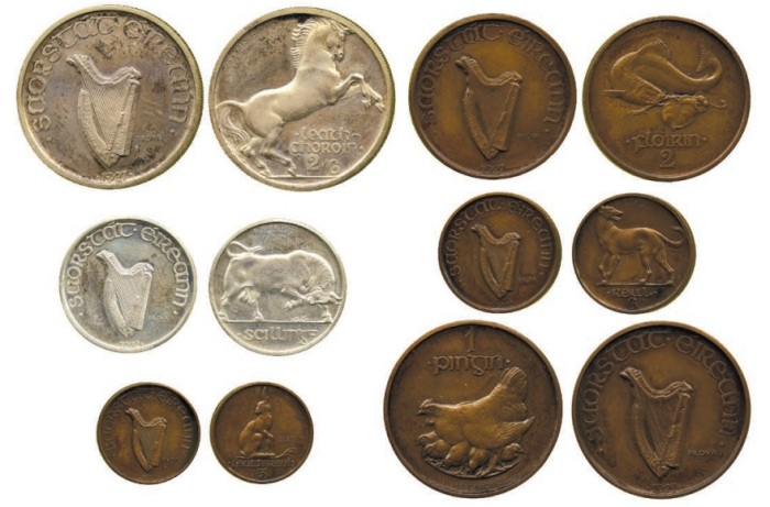 Morbiducci Irish Pattern Coin Set (obv + rev) - one of each coin type.