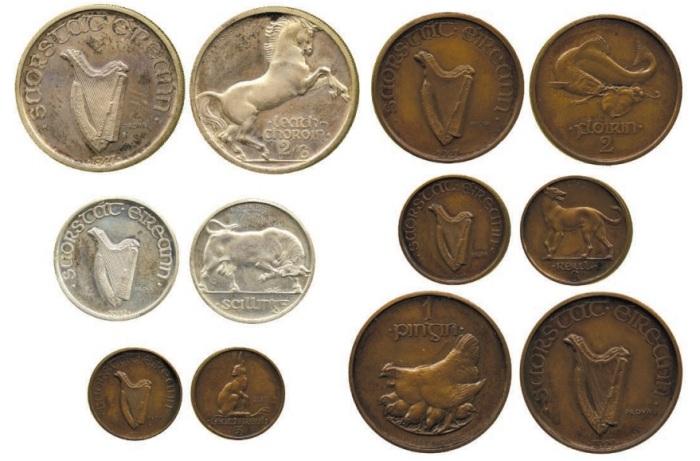 Morbiducci Irish Pattern Coin Set (obv + rev) - one of each coin type.