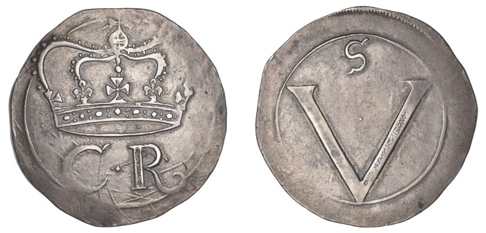 Ormonde Money, Crown, lozenge stop (between 2 small pellets) between C and R, small, serifed S on reverse, 29.59g (S 6544, DF 288, KM. 64). The Old Currency Exchange, Dublin, Ireland.