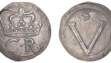 Ormonde Money, Crown, lozenge stop between c-r, 29.59g (S 6544, DF 288, KM. 64). The Old Currency Exchange, Dublin, Ireland.