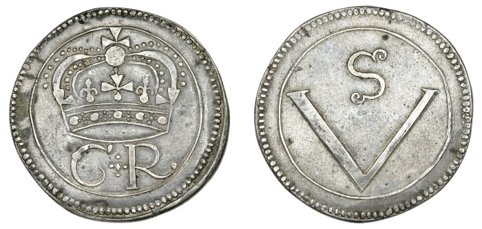 Ormonde Money, Crown, lozenge stop (within quatrefoil) between C and R, stylised S on reverse, 29.13g (S 6544, DF 291). The Old Currency Exchange, Dublin, Ireland.