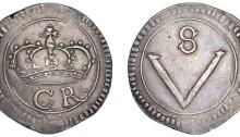 Ormonde Money, Crown, no stop between c-r, 28.17g/12h (cf. S 6544; cf. DF 288; cf. KM. 64). The Old Currency Exchange, Dublin, Ireland.