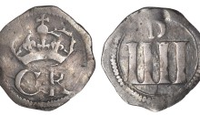 Ormonde Money, Groat, pellet between CR, tall letters, large D on rev., 1.53g/3h (S 6548; DF 305; KM. 58). Good fine. The Old Currency Exchange, Dublin, Ireland.