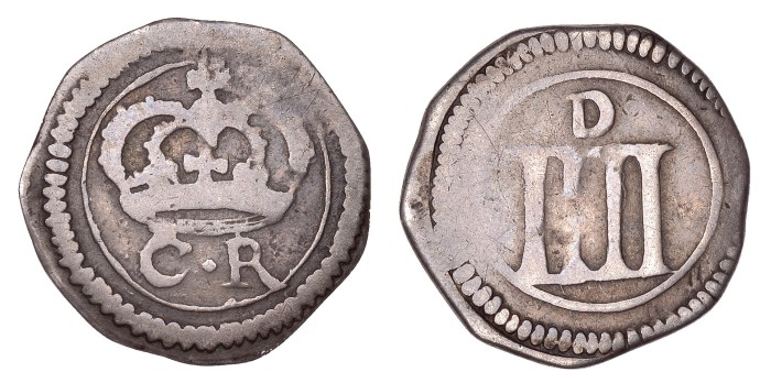 Ormonde Money, Groat, small lozenge between CR and small letters on obv., tall mark of value and medium d on rev., 1.66g/2h (S 6548; DF 305; KM. 58). Good fine. The Old Currency Exchange, Dublin, Ireland.