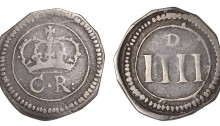 Ormonde Money, Groat, small letters on rev., 2.01g/11h (S 6548; DF 303; KM. 58). About very fine, toned. The Old Currency Exchange, Dublin, Ireland.