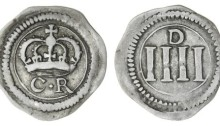 Ormonde Money, Groat, small lozenge between CR and small letters on obverse, thick numerals and large 'D' on reverse