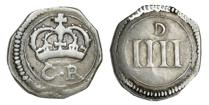Ormonde money, Groat, thin numerals on reverse, 1.87g (S 6548, DF 304). Very fine, toned. The Old Currency Exchange, Dublin, Ireland.