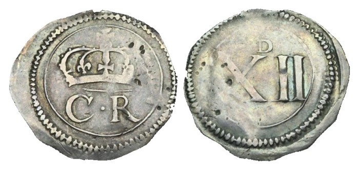 Ormonde Money, Shilling, Pellet between CR, tall numerals, small 'D' on reverse.