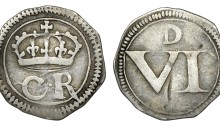 Ormonde money, Sixpence, lozenge between CR, large Roman numeral, large D, 2.53g (S 6547, DF 301). Nearly very fine