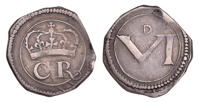 Ormonde Money, Sixpence, no dot between CR, r with curly tail, large numeral, small D, 2.83g (S 6547, DF 302, KM. 59). aVF