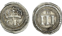 Ormonde money, Threepence, large numerals and small d, 1.50g (S 6549, DF 309, same dies). Very fine, toned. The Old Currency Exchange, Dublin, Ireland.