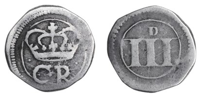 Ormonde Money, Threepence, lozenge between CR, thick numerals + small 'D', 1.41g (S 6549, DF 306).