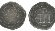 Ormonde money, Threepence, thin numerals and large 'D', 1.36g (S 6549, DF 308). About fine