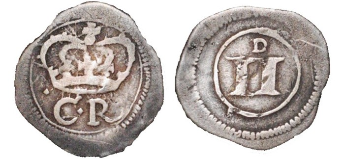 AR siege twopence. .93 gm. 14 mm. Ormonde Siege coinage. (1643). C R crowned, in the field left. Crown; left arch touches inner circle; C: thicker lines, top serif curves outward, lower part ends in a blunt point. R: thicker lines, extended leg does not cross inner circle, ends in a curve / II, small D above, all within inner circle; thick numerals, slightly out-of line with one another, small D above; all within inner circle. S. 6550. D&F 311. Very Fine; well centered on a generous flan; slight roughness; overall attractive and very rare.