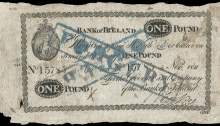 1821 Bank of Ireland, One Pound, 5 November 1821, contemporary forgery, stamped FORGERY twice on front.