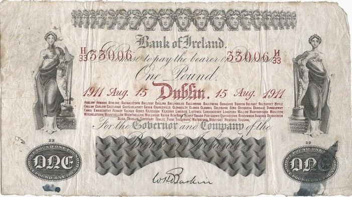 1911 Bank of Ireland (Thirteenth Issue), One Pound note, dated 15th August 1911