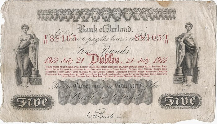 Bank of Ireland Five Pound Note, Type 1 - Thirteenth Issue, dated 21st July 1914