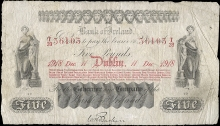 1918 Bank of Ireland, Five Pounds, 11 December 1918, T28 36103, signature of W.H. Baskin