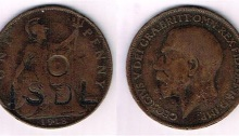 Irish Self Determination League counter-marked penny - a GB 1918 penny coin, die-stamped ISDL
