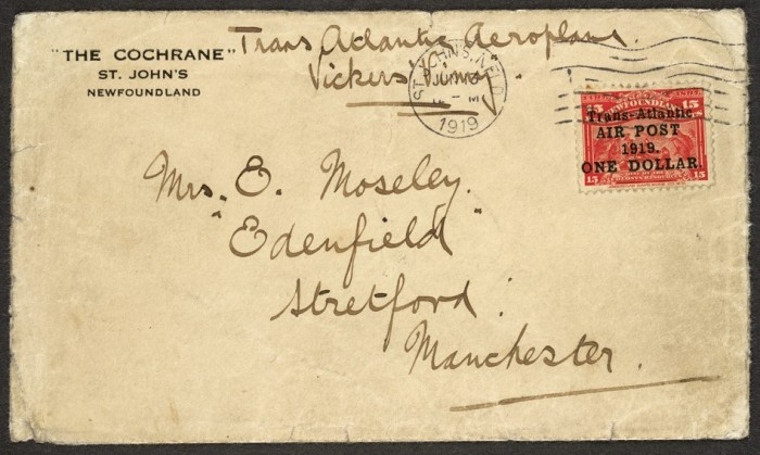 Newfoundland: 1919 airmail cover, carried on Alcock & Brown's first Trans-Atlantic flight (addressed to Alcock's sister), bearing 1919 (9 June) $1 on 15c. bright scarlet.