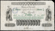 1919 Bank of Ireland, Type 3 (branch list printed in green ink) Five Pounds, 27 January 1919, T29 49834, signature of W.H. Baskin