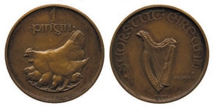 1927 Morbiducci pattern (Prova) penny, only one example known to be struck in copper.