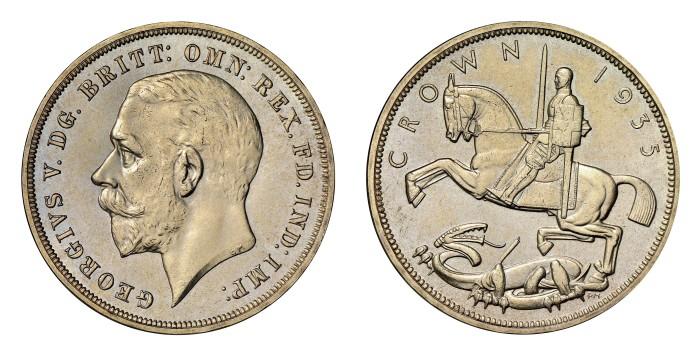Metcalfe designed the reverse of the 1935 Crown, featuring an Art Deco rendering of St. George slaying the dragon.