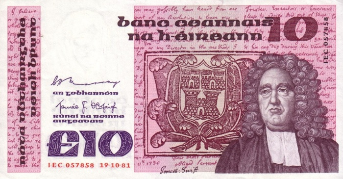Central Bank of Ireland Ten Pound Note (B Series), dated 19th October 1981 and featuring Dean Jonathan Swift