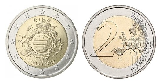 2012 Ireland - Special €2 commemorative coin (10 years of euro banknotes and coins)