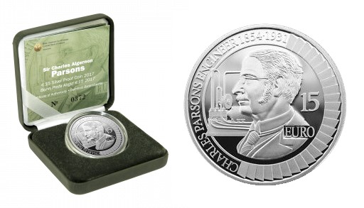 2017 Ireland €15 silver proof commemorative coin (Sir Charles Algernon Parsons)