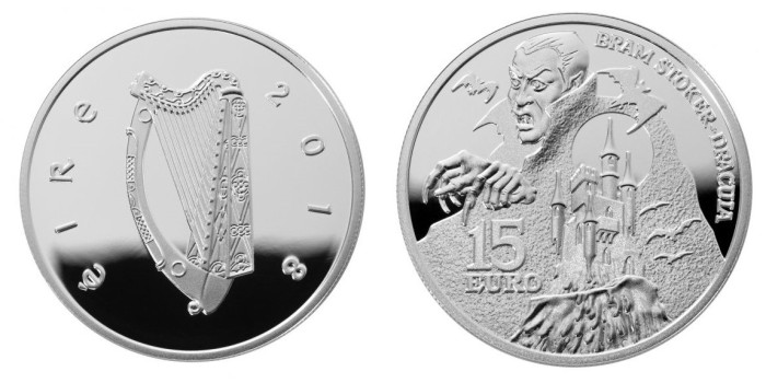 2018 Bram Stoker's Dracula €15 silver proof coin (Limited edition, boxed). The Old Currency Exchange, Dublin - probably the best little coin shop in Ireland.
