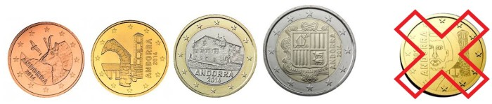 Andorra coin designs 2014 - note the design rejected by the EU on the far right.