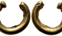 Britannia, Celtic AV Plated Ring Money. 200-100 BC. Gold plated, in smooth penannular form, decorated at one end. 2.20g, 18mm