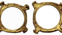 Celtic Ring Money. Gaul. Uncertain Tribe. Quadrangular gold ring with abutments in each corner. c. 200 - 100 BC. 0.86 g, 14 mm