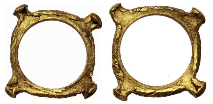 Celtic Ring Money. Gaul. Uncertain Tribe. Quadrangular gold ring with abutments in each corner. c. 200 - 100 BC. 0.86 g, 14 mm