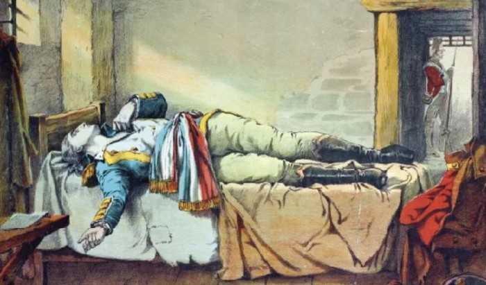 An artist's impression of the death of Theobald Wolfe Tone on 19th November 1798. He is famously depicted in a French adjutant-general's uniform on his death bed.