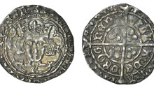 Edward IV (1461-1483), Light Cross and Pellets coinage, Groat, Drogheda, mm. pierced cross, nothing by neck, g on breast, rev. reads villa de drogheda, extra pellets in two quarters, annulets in others, 2.01g/3h (S 6341A; DF 134). Good very fine, attractively toned