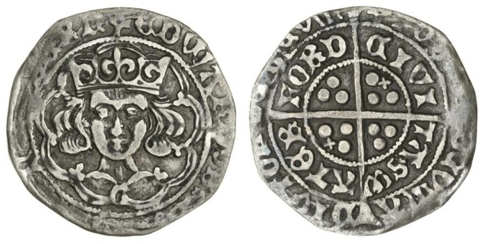 Edward IV (1461-83), Groat, light 'cross and pellets' coinage, c.1473-78, Waterford, m.m. pierced cross double fitchy, 2.17g, crowned bust facing, G on breast, rev. cross and pellets with an additional saltire in the first and third quarter