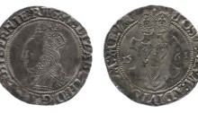 Elizabeth I, 2nd Irish Coinage (fine silver, 1561) Shilling, dated 1561. Crowned bust to left / Three Harps posed on crowned shield
