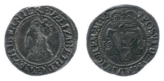 Elizabeth I, 2nd Irish Coinage (fine silver) Groat, dated 1561. Crowned bust to left / Three Harps posed on crowned shield, date either side