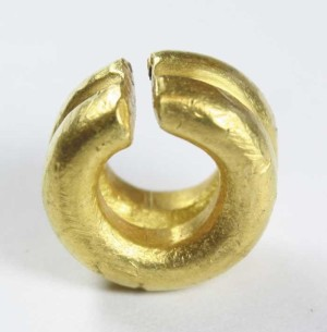 Gold Ring Money - Penannular double ring example of circular section with square-cut ends. Believed to have been found in Co Cork. Weight 10.8 g