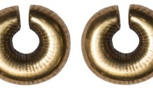 Gold Ring Money - Solid band of gold possibly on a bronze core, flattened ends, ribbed decoration around, 13.2 g. Late Bronze Age