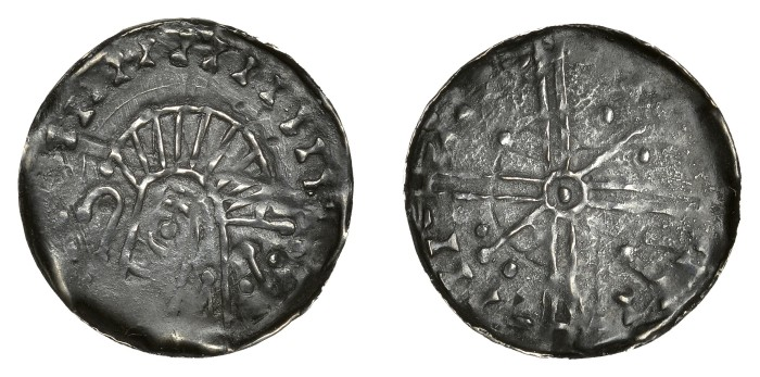 Hiberno-Norse, Phase VI silver penny - Crude draped bust left, crozier before, quatrefoil behind; Long cross, pellet within annulet at centre, sceptre and pellet in opposing quarters