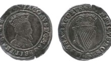 James I, 2nd Irish Coinage (1605-1607), 3rd Bust (decorated shoulder) Silver Shilling, mint mark: Martlet (1605). DF. 261; S. 6515.