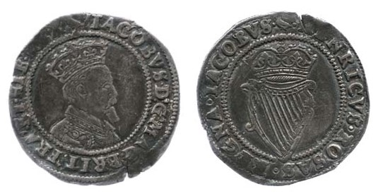 James I, 2nd Irish Coinage (1605-1607), 3rd Bust (decorated shoulder), Shilling, 4.24g., mintmark Martlet (DF. 261, S. 6515)
