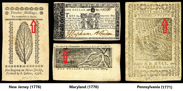 """To counterfeit is Death"" New Jersey; ""Tis DEATH to Counterfeiters"" Maryland; and ""To counterfeit is Death"" Pennsylvania."