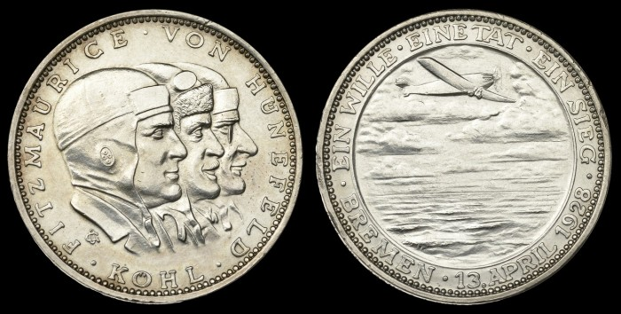 Ost-West-Ozeanflug der Bremen [First East-West Transatlantic Flight of the Bremen], 1928, silver medals by the Prussian mint (3), conjoined busts of Fitzmaurice, Köhl and von Hünefeld right, rev. aeroplane above the waves, 36mm (FMB 211; Kaiser 927)